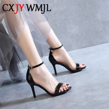Sexy Word Buckle Sandal Women New 2020 Summer Sandals For Woman High Heels Fashion Ankle Strap High Heel Shoes Black Leather 40 womens ladies wedge sandals strappy high heels pu leather platform summer party shoes woman ankle strap sandal white black