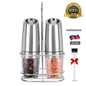 Image 2 - 2 PCS Electric Pepper Mill Gravity Salt and Pepper Grinder Set with Metal Stand Battery Salt Shakers Automatic Peper, spice mill