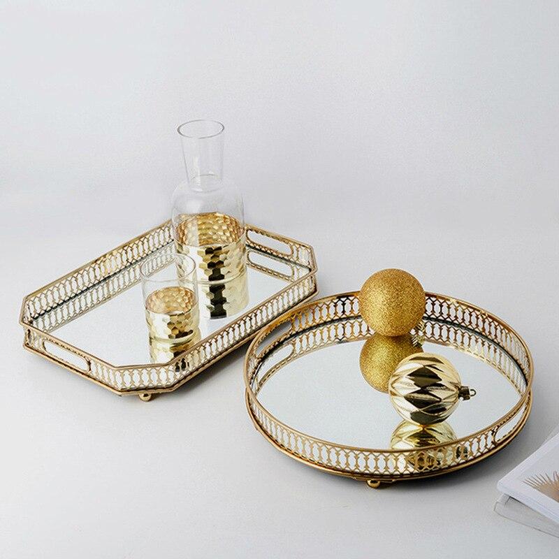 Plateau de fruits décoratif rond en fer or   Plateau rond en verre, support métallique de miroir, plateau de présentation de bijoux, plateau de fruits luxueux en or pour la fête de mariage