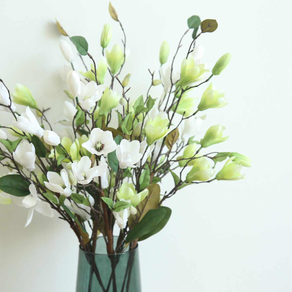 Yapay sahte çiçekler yaprak manolya çiçek düğün buket parti ev dekorasyonu