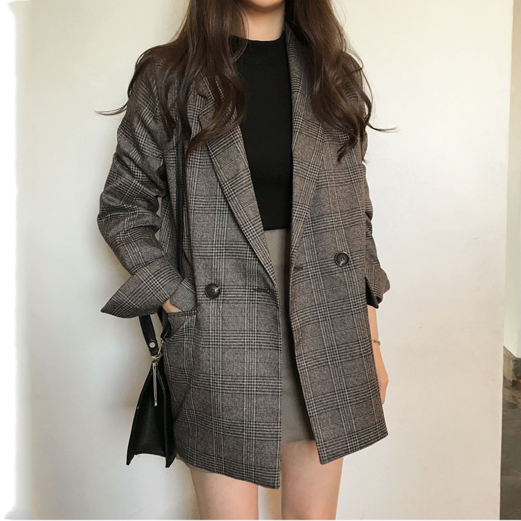 Women Blazer Suits New 2020 Autumn Winter Women's Coat Plaid Double Breasted Pockets Formal Jackets Notched Outerwear Tops 99i