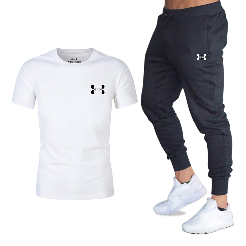 Summer 2019 Brand T Shirt Men Sets Fashion Cotton Short Sleeve Sporting Suit T-shirt +Pants Mens 2 Pieces Sets Casual Clothing