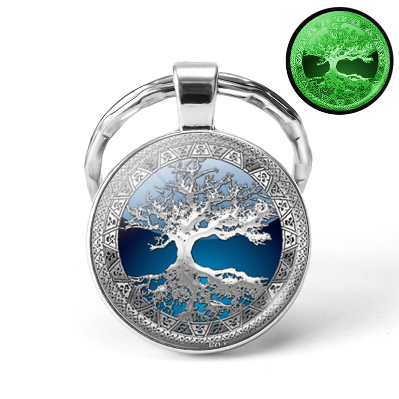 Glow In The Dark Tree Art KeyChain Handmade Tree Of Life Luminous Jewelry Metal Key Ring Key Chain Christmas Gifts