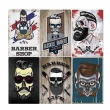 Cartel de Metal de lata para barbería, carteles Vintage de barbería, decoración de arte de la pared, Bar, Pub, placa de 20*30cm