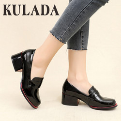 KULADA New Women Pumps Shoes Patent Leather Thick Heel Shoes Women  Round Toe Pumps Fashion Ladies Pull-On Shoes Spring Autumn