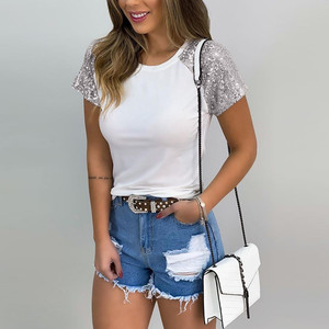 Women Summer T Shirt Round Neck Sequin Short Sleeve Tee Patchwork Solid Casual T-shirt Top Cotton T Shirt Women Camisetas Mujer