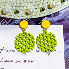 DREJEW Green Geometric Circle Beads Alloy Statement Dangle Earrings Sets 2019 925 Drop Earrings for Women Fashion Jewelry HE1651 irregularity circle geometric beads drop earrings