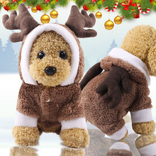 a dog for christmas Two-horned elk in a costume Warm Fleece Pet Dog Clothes for Small Dogs Christmas Dog Costume Jumpsuit Puppy Coat Jacket Clothing
