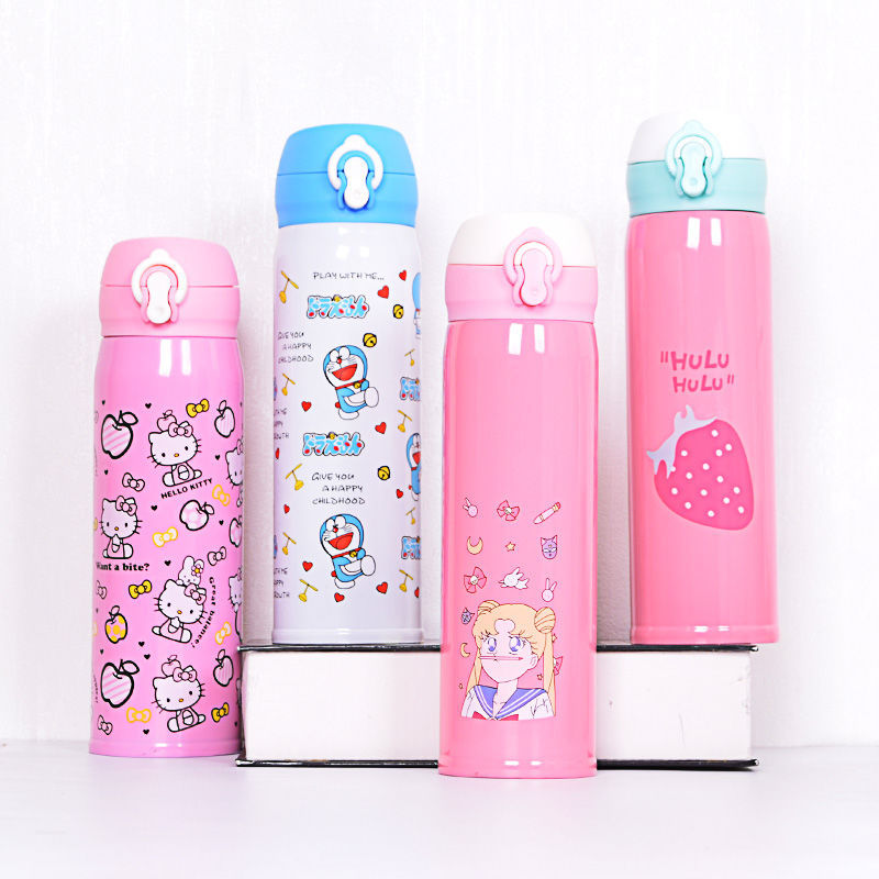 Insulated Stainless Steel Bottle Women's Male STUDENT'S Cute Cartoon Portable Children Water Cup Korean style Fashion Spacious B|Sports Bottles| |  - title=