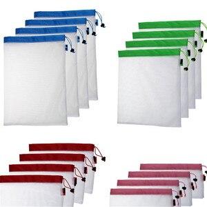 Image 1 - Sacs réutilisables pour fruits et légumes, lavables, sacs en mailles écologiques pour épicerie, rangement de jouets pour fruits et légumes, 1 unité