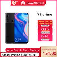 """In magazzino Globale Versione Huawei Y9 Prime 2019 Smartphone AI Triple Posteriore Telecamere 4GB128GB Auto Pop Up Anteriore Della Macchina Fotografica 6.59 """"Del cellulare"""