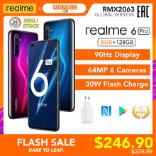 Realme 6 Pro Version globale 8 go RAM 128 go ROM Snapdragon 720G 30W Charge Flash 4300mAh 64MP caméra NFC EU chargeur Play Store