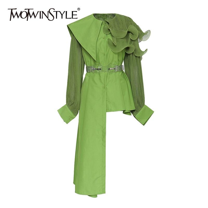 TWOTWINSTYLE Elegant Asymmetrical Women Dress Irreguar Collar Lantern Long Sleeve High Waist With Sashes Ruffles Dresses Female