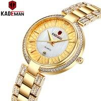 Nova chegada topo de luxo da marca kademan relógio de quartzo feminino moda senhoras relógio de pulso cristal diamante à prova dwaterproof água montre femme 859l Relógios femininos     -