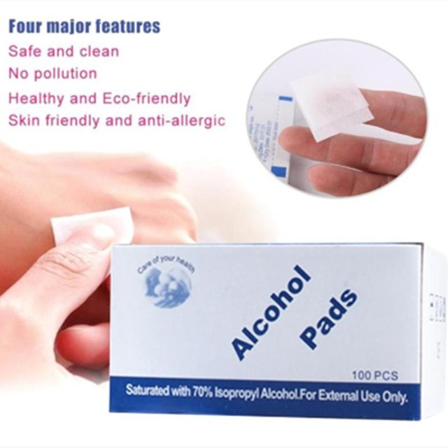 3X100Pcs/lot Alcohol Wet Wipe Disposable Disinfection Swap Pad Antiseptic Skin Cleaning Care First Aid Jewelry Phone Clean Wipe 3