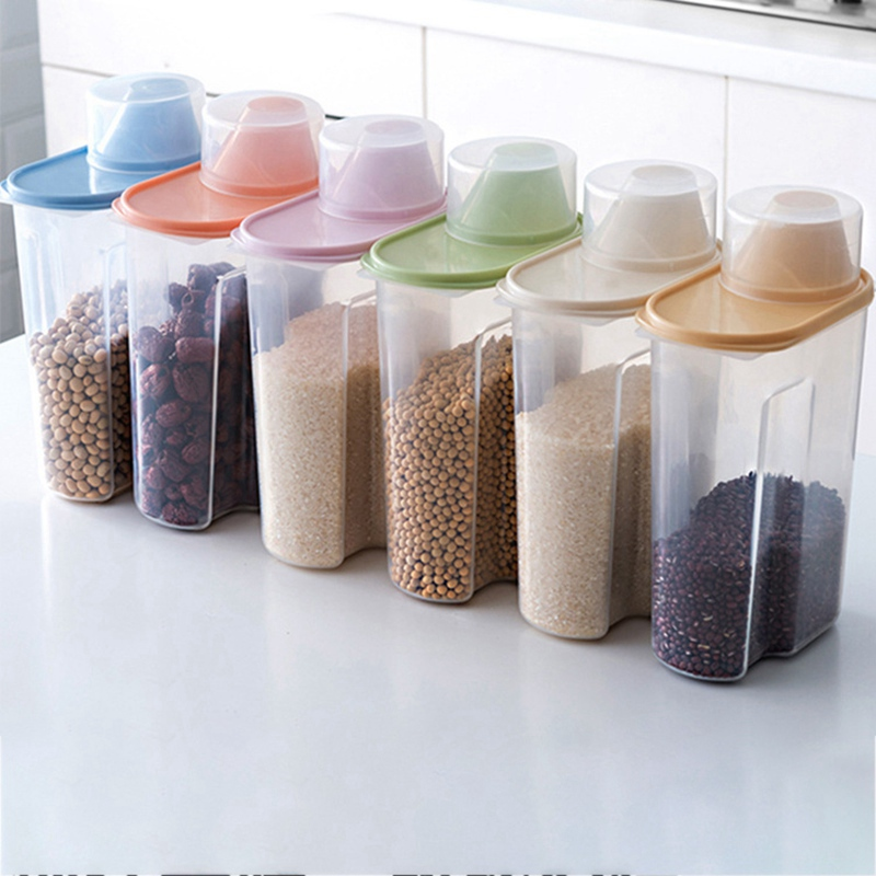 1.9/2.5L Cereal Dispenser With Lid Storage Box Plastic Rice Container Food Sealed Jar Cans For Kitchen Grain Dried Fruit Snacks Bottles Jars & Boxes     - title=