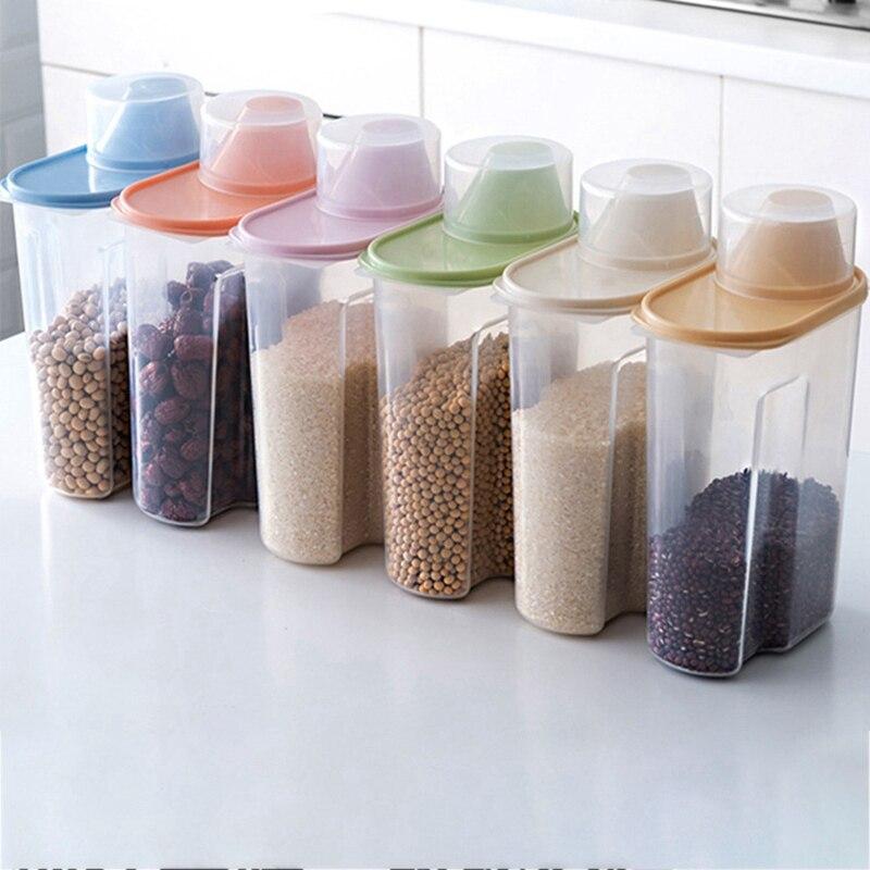 1.9/2.5L distributeur de céréales avec couvercle boîte de rangement en plastique récipient de riz nourriture scellé pot canettes pour les collations de fruits secs de Grain de cuisine