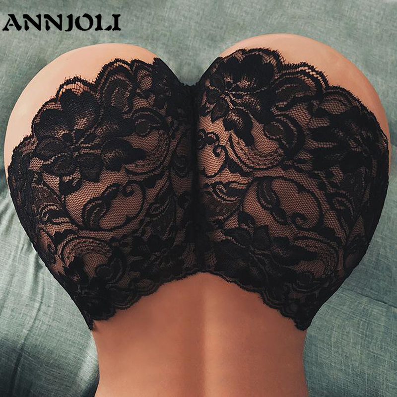 ANNJOLI Lady Sexy Boyshort Hot Women's Pants Floral Lace Indoor Sexy Panties Elastic Waist See Through Seamless Female Underwear
