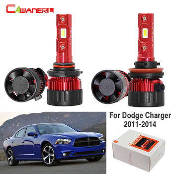Cawanerl For Dodge Charger 2011 2012 2013 2014 Car LED Headlight Lamp High Beam Low Beam 9005 H11 White 12V 4 Pieces