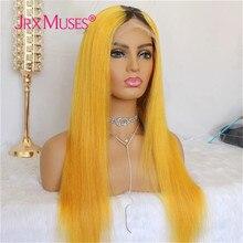 Frente do laço perucas de cabelo humano brasileiro em linha reta remy cabelo descorado nós 150% densidade ombre loira cor transparente laço amarelo
