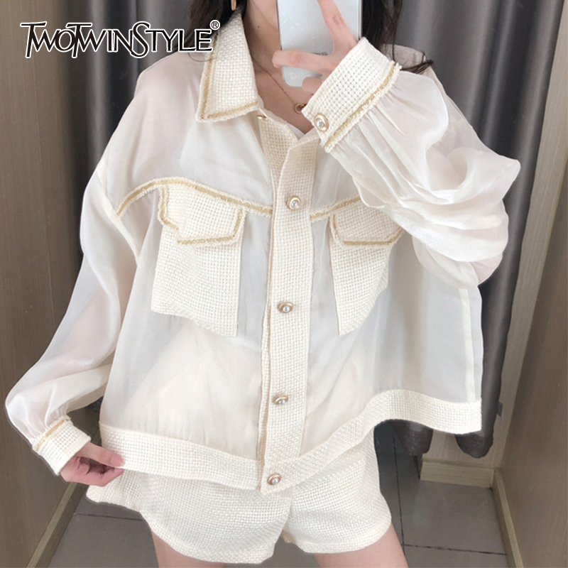 TWOTWINSTYLE Perspective Patchwork Tweed Women's Shirts Lapel Collar Long Sleeve Pocket Korean Shirt Blouse Female 2020 Fashion