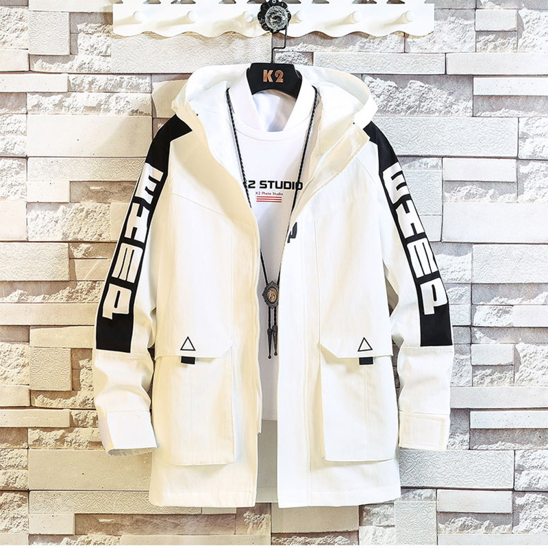 Jackets Men Casual Fashion 2020 Streetwear HIP HOP Punk Letter Printing Design Spring Autumn Medium Length Jacket
