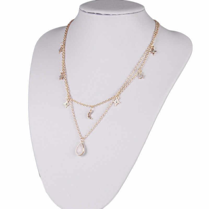 Simples ouro cristal pentagrama multi camada gargantilha colar para mulher charme bohemia declaração colares pingentes em jóias bijoux