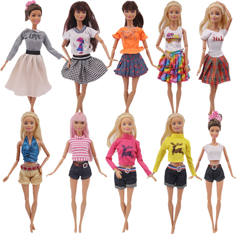 Doll 15 Styles Barbies Giraffe Outfit Short Dress Denim Grid Skirt Vest Pants Daily Casual Wear Ken Accessories Girl`s Toy DIY