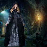 Halloween Female Death Dress Terror Skull Role Playing Suit Cloak Stage Costume for Women TS95