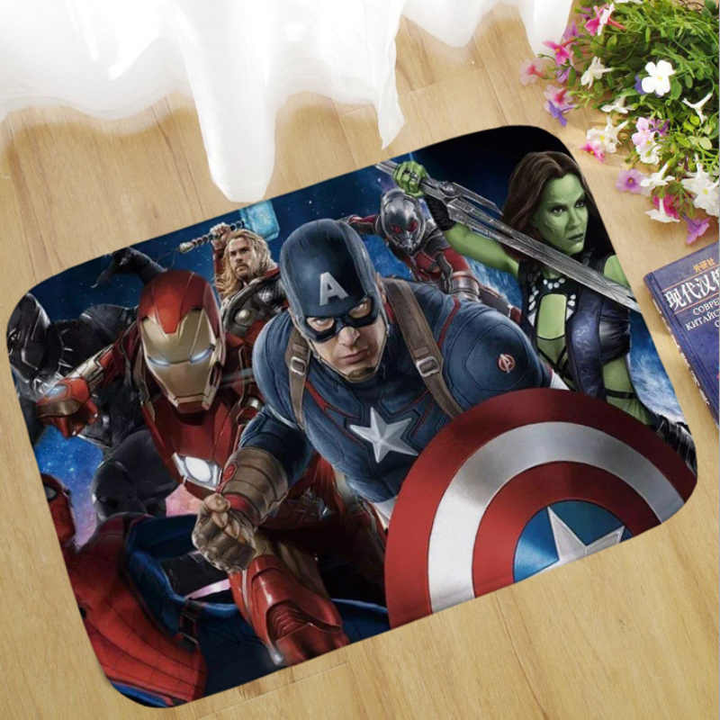 1pcs 40x60cm רחיץ מארוול נוקמי 4 קטיפה שטיח איש ברזל קפטן אמריקה באטמן שטיח מסדרון אמבטיה רצפת החלקה מחצלת