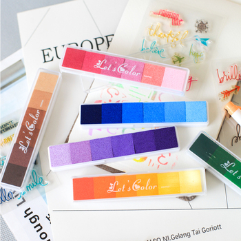 6 Colors Bar Inkpad Rainbow Gradient Color Ink Pad For Stamp Print DIY Handmade Gift Journal Diary Decoration Office School F333