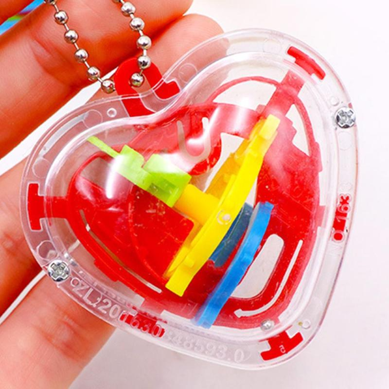 50 Pass 3D Ball Maze Puzzle Kids Children Heart Shape Maze Intellect Ball Game and Puzzle Toy Gift Playing Ball Mini Puzzle Game