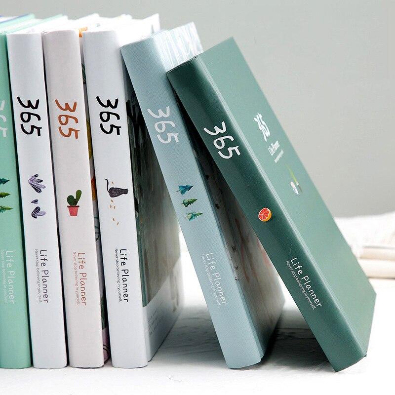 365 días lista Linda diario cuaderno planificador página interior colorida Bloc de notas diario Agenda anual Oficina escuela papelería