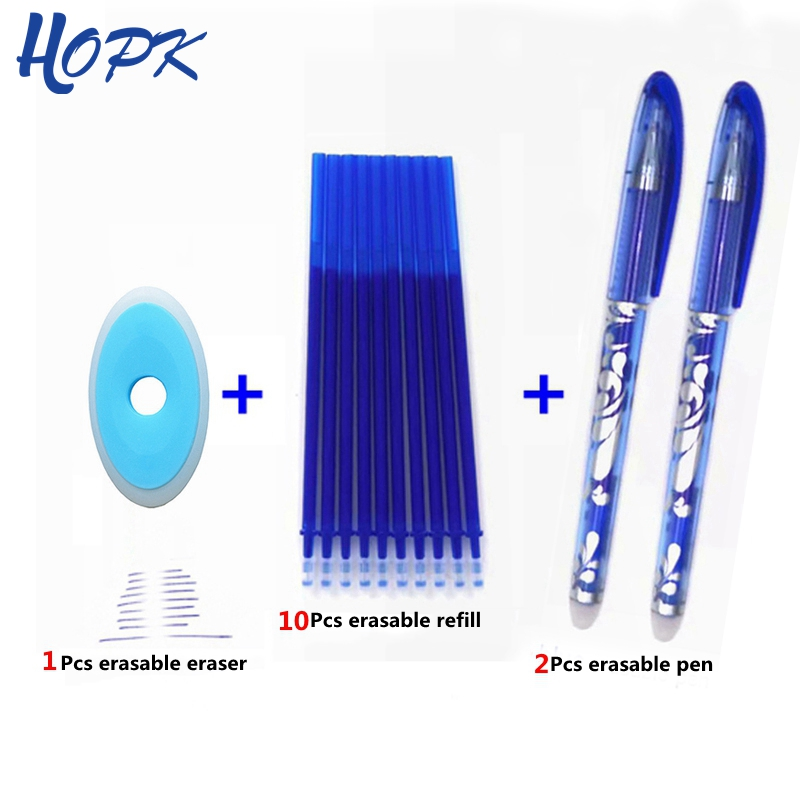 Erasable Pen Set Blue Black Color Ink Writing Gel Pens Washable Handle Rod For School Office Stationery Supplies Exam Spare