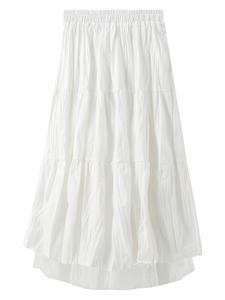 Long-Skirts Harajuku Teenagers Black White Korean-Style High-Waist for Women's