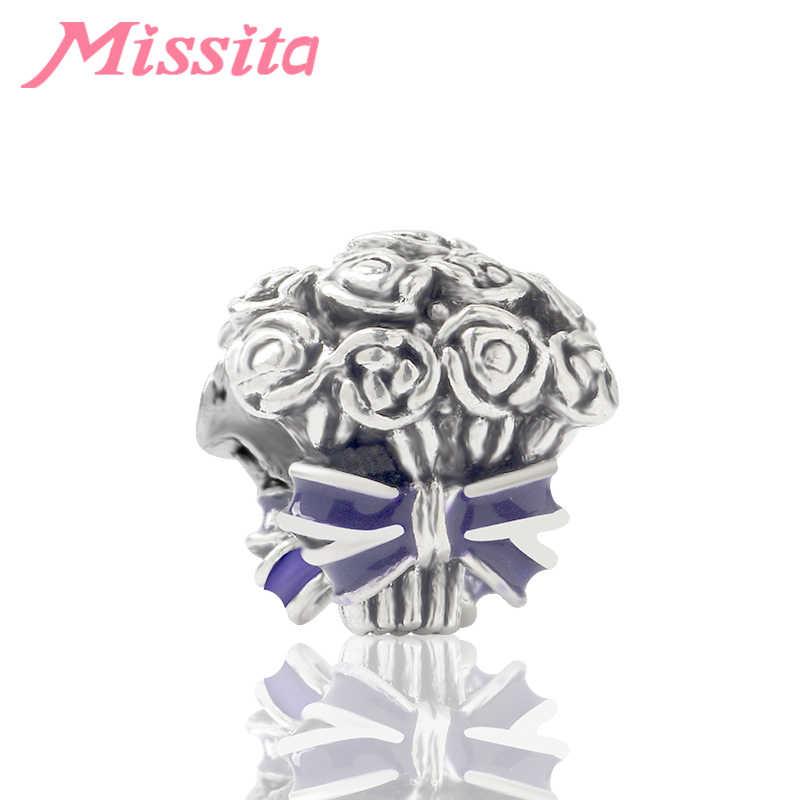 MISSITA כסף מתכת אמייל קשת רוז פרח זר חרוזים עבור תכשיטי ביצוע Fit פנדורה נשים צמידי שרשרת