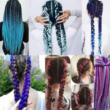 24 inch Jumbo Braids Long Ombre Jumbo Synthetic Braiding Hair Crochet Blonde Pink Blue Grey Hair Extensions African Smart Braid(China)