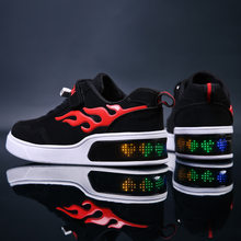 Children LED Shoes for Boys USB Charger Glowing Kids Girls Sneakers Luminous Casual lighted Shoes with led Display Sole(China)