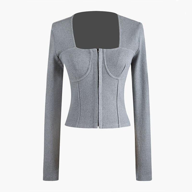 DEAT 2020 New Spring Solid Color Square Collar Temperament Tops Women Korea Slim Sexy Fashion Knit Sweater Tide PD705