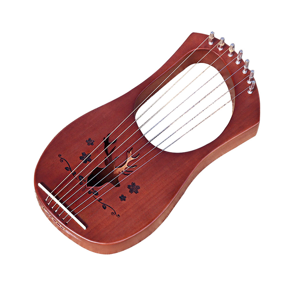 Instrument Kids 7-String Wooden Entertainment Mahogany Lightweight Gift Compact Musical Professional Lyre Harp Toy
