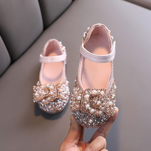 2021 New Childrens Shoes Pearl Rhinestones Shining Kids Princess Shoes Baby Girls Shoes for Party and Wedding Kids Shoes