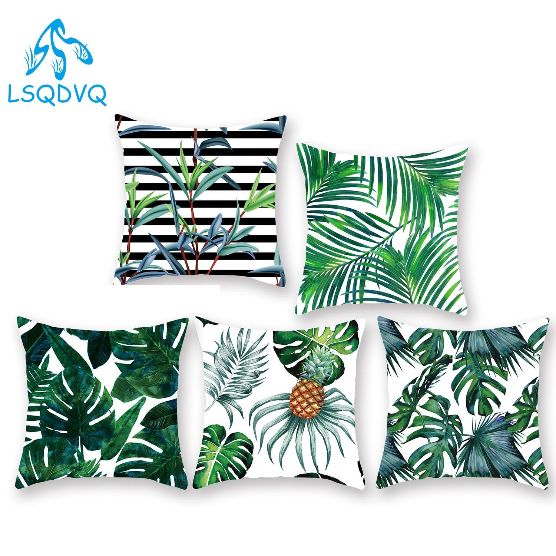 Diy Custom Tropical Green Leaves Decorative Throw Pillow Case 100% Polyester 45x45cm Cushion Cover For Sofa Car Home Decor