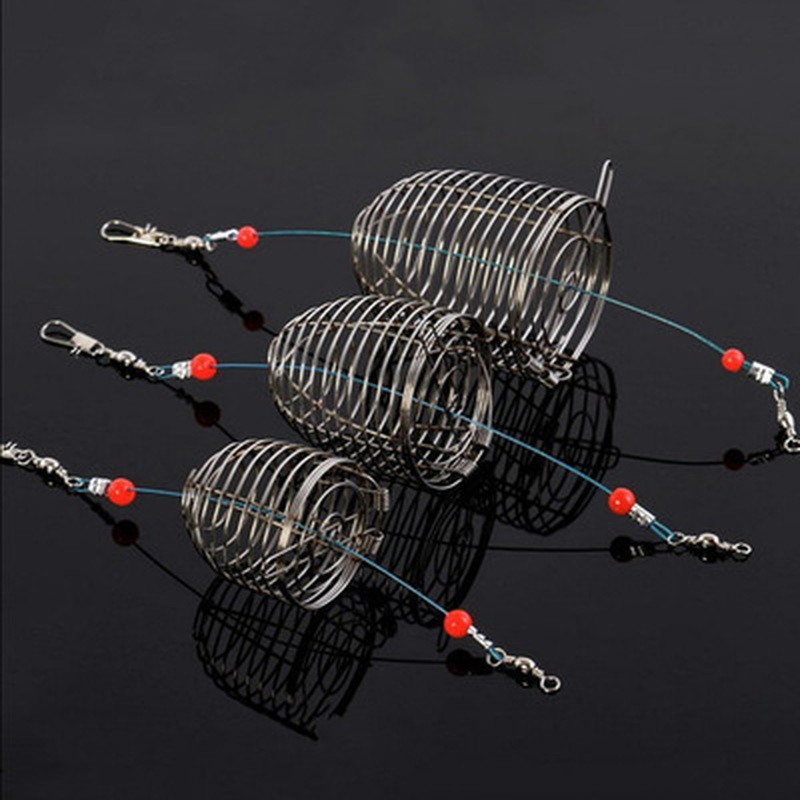 1PC Outdoor Fishing Small  Medium Large Stainless Steel Wire Fish Bait Trap Basket Fishing Tackle Lure Cage