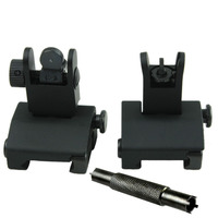 Tactical Flip up Front and Rear Back up Iron Sight WITH .223 A1 A2 Carbine Dual Front Sight Tool