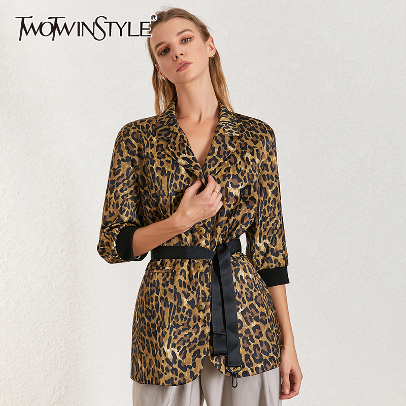 TWOTWINSTYLE Leopard Print Blazer Coat Notched Collar Long Sleeve With Sashes Women's Suit 2020 Vintage Fahsion Clothing New