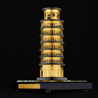 Leaning Tower of Pisa famous Building Crystal inlaid with gold Assembling Souvenirs Tower structure edifice Architecture model