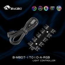 Bykski B MBDT 1TO10, 1 To 10 RGB Hub,Lighting Splitter Motherboard AURA A RGB Light SYNC Cable