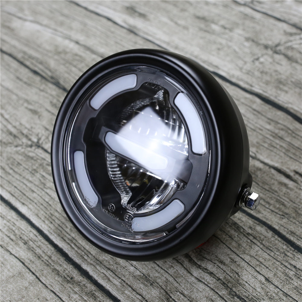 Universal Retro Motorcycle LED Headlamp For Cafe Racer Cruisers Vintage Refit Motorbike DRL Front Lamp E24 Approval High Quality