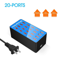 VIPATEY 20 Port USB Charging Station 100W AC Power Adapter Multi Ports Destop USB Charger for Smartphones Hotel School Office