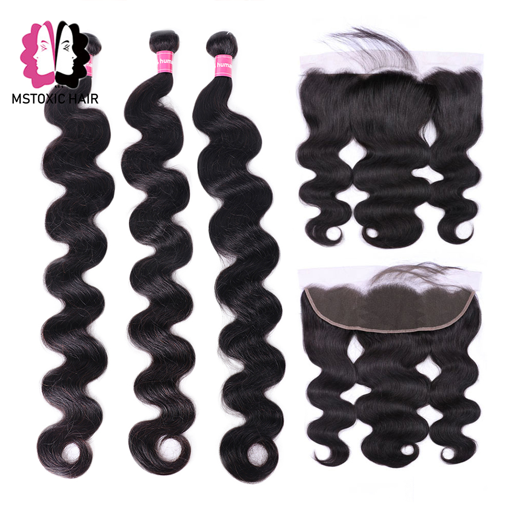 Mstoxic Brazilian Body Wave Bundles With Frontal Closure 30inch 32 34 36 38 40inch Long Remy Human Hair Bundles With Closure-in 3/4 Bundles with Closure from Hair Extensions & Wigs